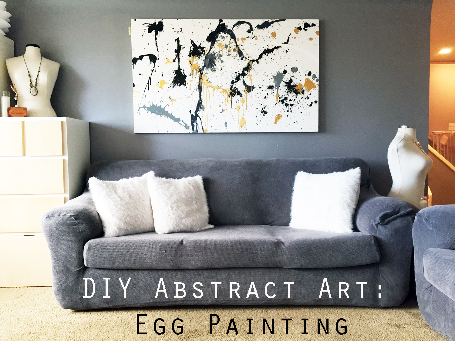DIY Canvas Painting: Egg Splatter Gold Abstract Art ...